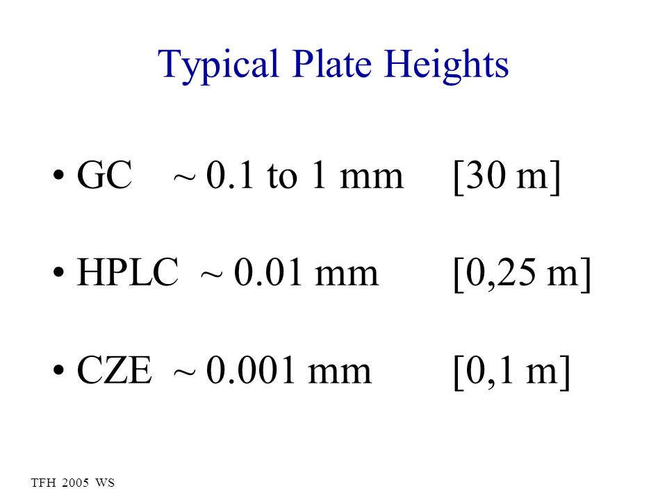 Typical Plate Heights GC ~ 0.1 to 1 mm [30 m] HPLC ~ 0.01 mm [0,25 m] CZE ~ 0.001 mm [0,1 m]